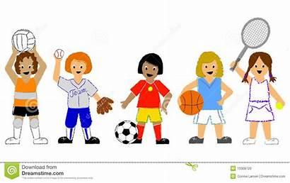 Sports Illustration Clipart Playing Children Softball Basketball