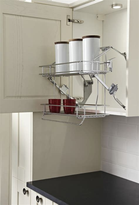 Pull Down Basket Shelves, Two Tier Chrome Wire, Gas Spring