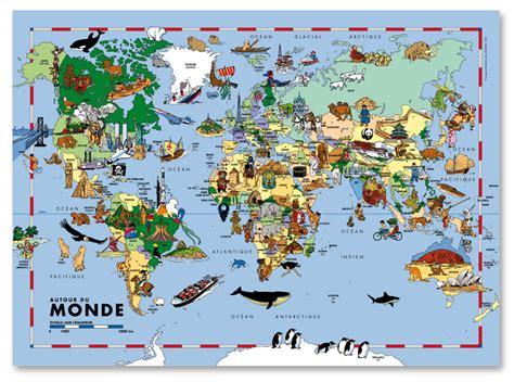 carte du monde pour enfants carte murale de grand format