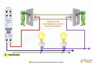Branchement D Un Va Et Vient : schema d 39 un va et vient avec 2 interrupteurs ~ Carolinahurricanesstore.com Idées de Décoration