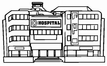 Hospital Coloring Pages Template Modern Building Cartoon