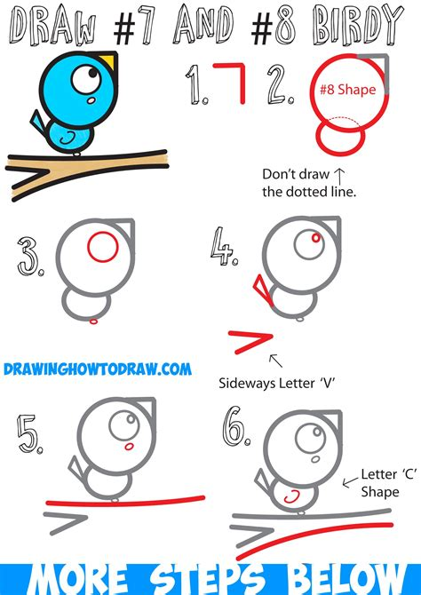 draw  cute cartoon bird   branch  numbers