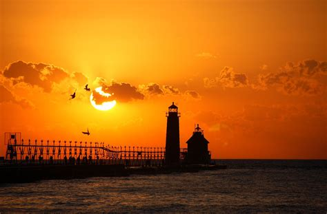 Sunset On The The Grand Haven Lighthouse