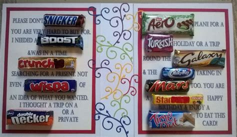 The extra effort, thought, time and creativity that go into making candy bar gift cards will also be appreciated, even though it is such a simple thing and most of the time pretty cheesy. Chocolate birthday   Candy birthday cards, Chocolate bar ...