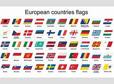 Set of European countries flags icons Stock Vector