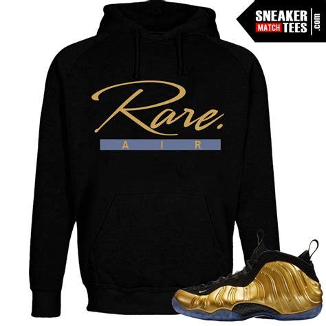 nike foamposite  gold shirts rare air script sneaker tees shirt  black hoody
