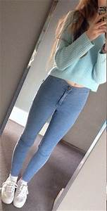 Light Blue Crop Top Sweater with Jeggings and White ...