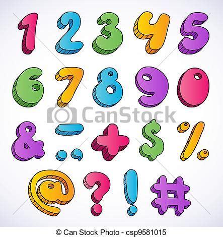 numeri clipart set 3d numeri cartone animato
