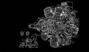 Engine Diagram Bw Black Aircraft Airplane Wallpaper