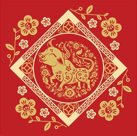 chinese  year  diamond frame  ox  vector art  vecteezy