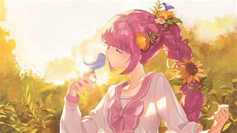 Anime Flower Wallpaper - 1920x1080 anime pink hair braid bird