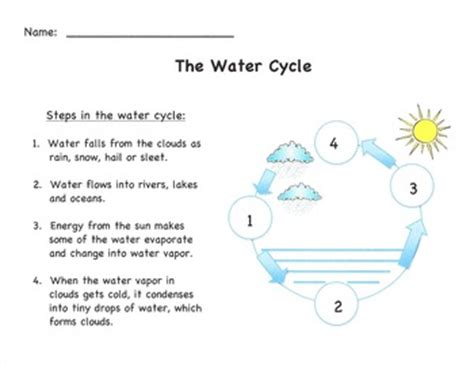 The Water Cycle Diagram Pdf by Water Cycle Diagram Simple Version With Answer Sheet By