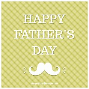Green Happy Father's Day card with a white moustache ...