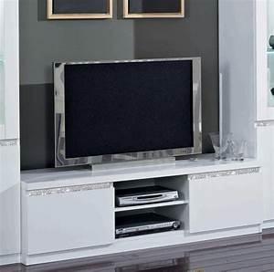 Meuble Tv Blanc Laqué : meuble tv plasma cromo laque blanc ~ Teatrodelosmanantiales.com Idées de Décoration