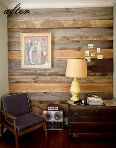 before after austins barn wood wall bears chair With barnwood interior walls