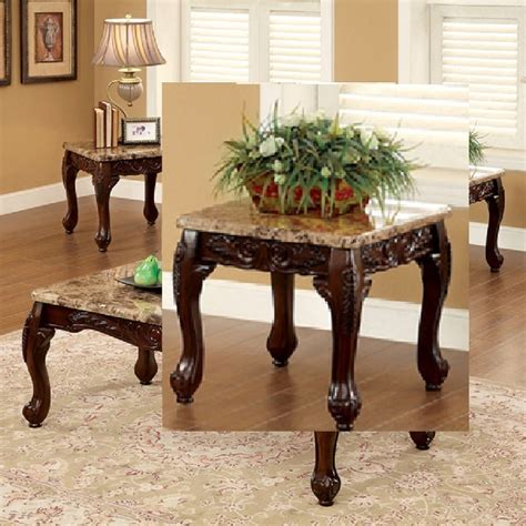 cherry 3 table set coffee end tables marble