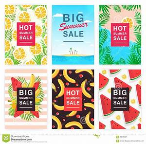 Hot, Big Summer Sale Flyer Set. Collection Advertising ...