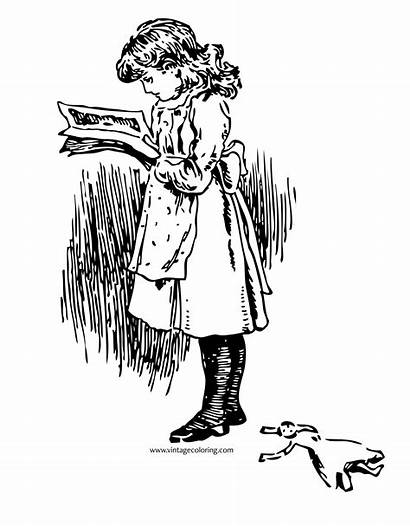 Coloring Pages Reading Retro Popular Paper