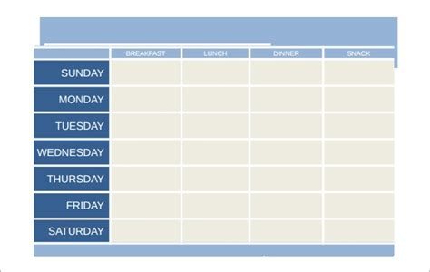 meal planning templates  excel word sample
