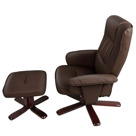 Furniture Brown Leather Comfortable Swivel Chair With by Brown Swivel Pu Leather Recliner Armchair W Ottoman Buy