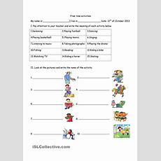 Free Time Activities  Esl 2  Time Activities, English Activities, Activities
