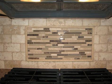 travertine tile backsplash with glass tile mosaic mural
