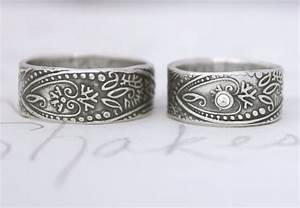 Bohemian inspired wedding ring set onewedcom for Bohemian wedding rings