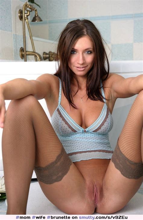 Mom Wife Brunette Lingerie Cleavage Busty Skinny