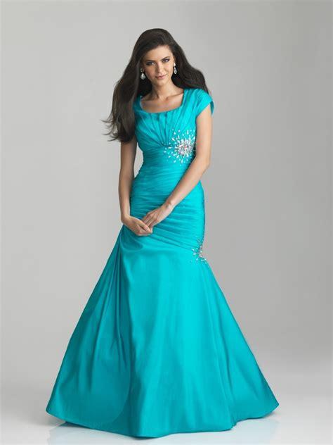 trumpetmermaid short sleeve floor length prom dress