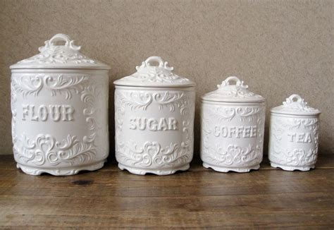vintage kitchen canisters sets vintage canister set antique white with ornate details vintage antiques and canisters