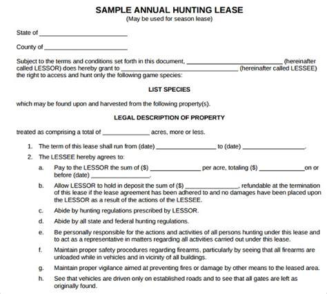 sample basic lease agreement templates