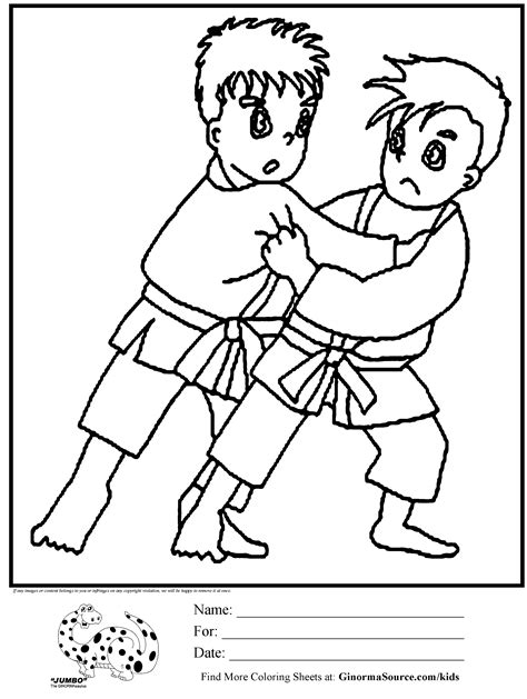Judo Kleurplaat by Olympic Coloring Page Judo Activities Cool