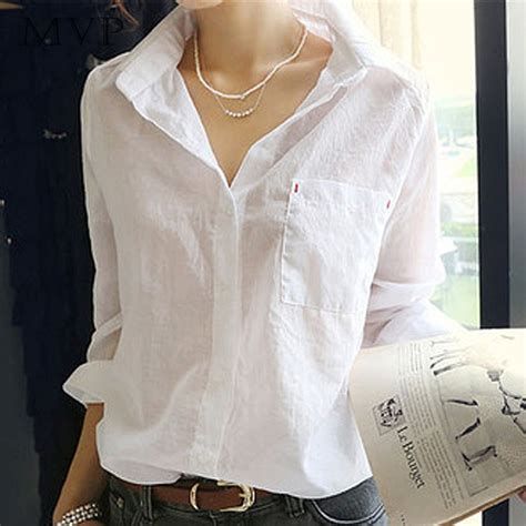 womens white blouse sleeve 2015 summer style shirts fashion turn collar