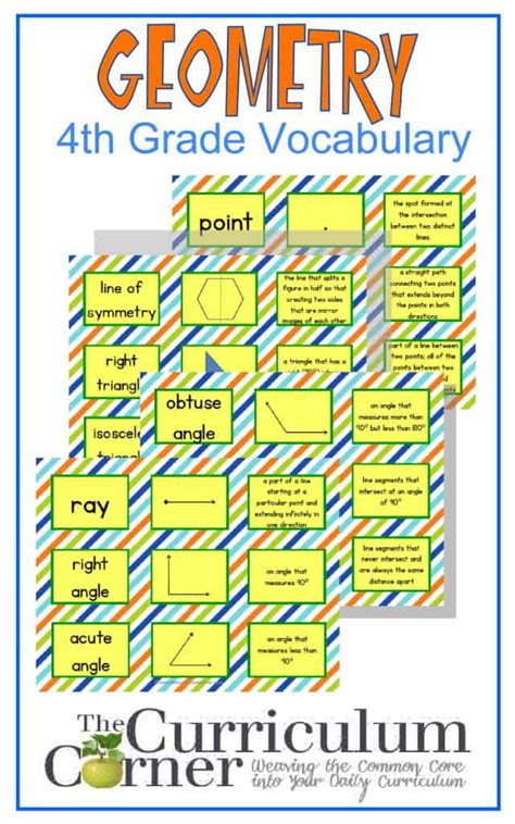 grade geometry vocabulary cards  curriculum