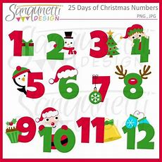 25 Days Of Christmas Clipart, Christmas Numbers, Christmas Advent, Christmas Calendar Clipart