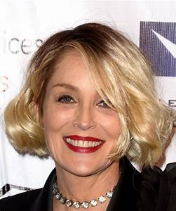 Sharon Stone Medium Wavy Casual Bob Hairstyle with Side ...
