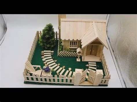 buiding  small  beautiful house   popsicle stick popsicle garden villa youtube