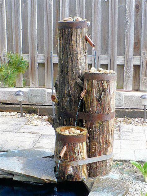 build  log  wood slice fountain  backyard amazing