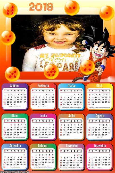 calendario dragon ball goku montagem fotos