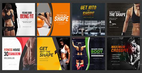 gym fitness instagram banner templates  designs