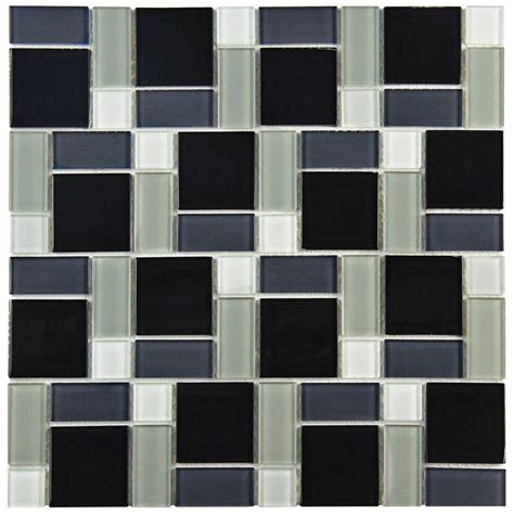 tile blocks merola tile spectrum block black and white 11 3 4 in x 11 3 4 in x 5 mm glass mosaic tile
