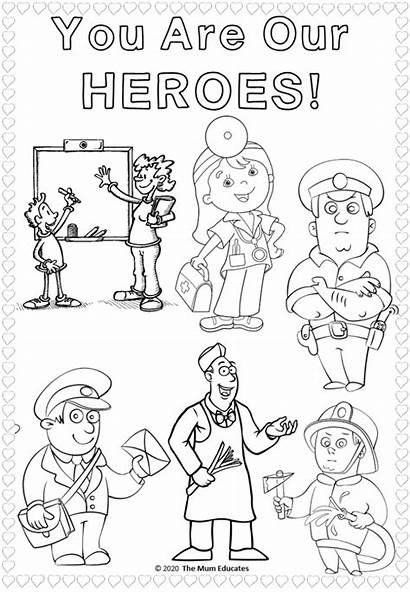 Colouring Workers Key Sheets Thank Coloring Heroes