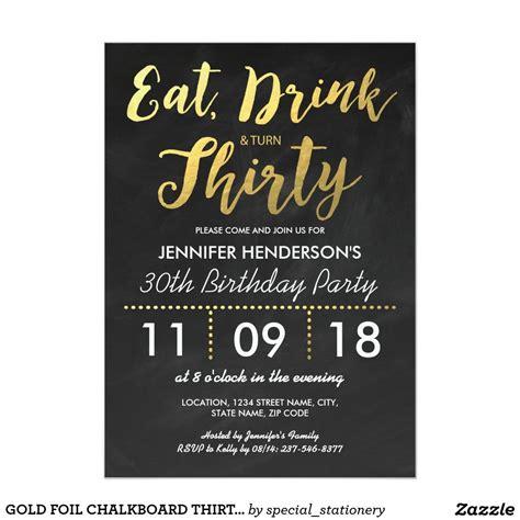 gold foil chalkboard  birthday  invitation