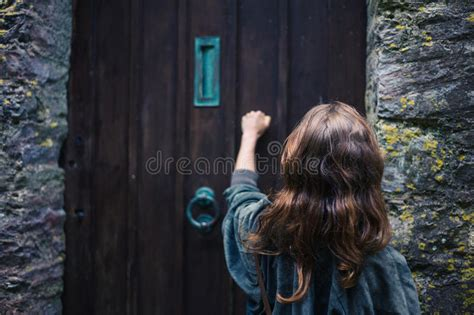 woman knocking  door stock photo image  hand young