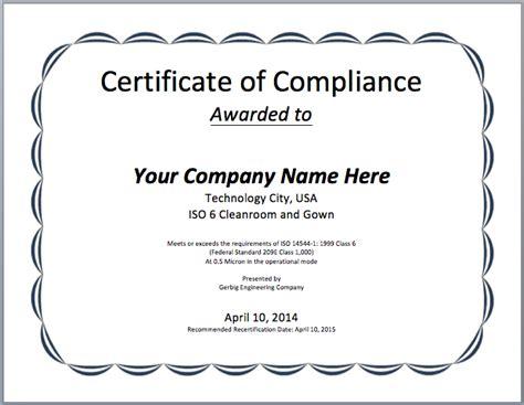 certificate of compliance template compliance certificate template microsoft word templates