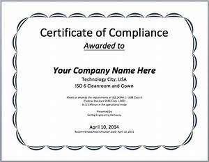 Compliance certificate template microsoft word templates for Certificate of compliance template