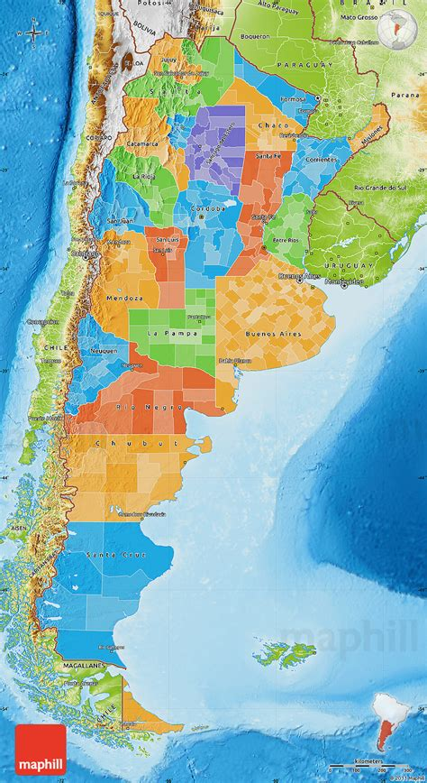 political map  argentina physical