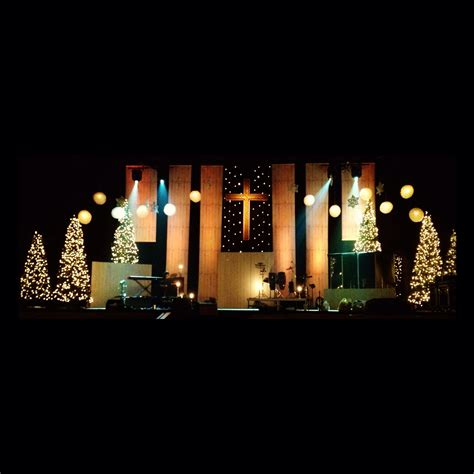 wooden banner drops church stage design ideas