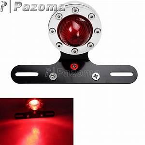 Motorcycle 12 Volt Led Tail Light Motor Polished Red Taillamp Brake Lights Xs650 Bobber Cafe
