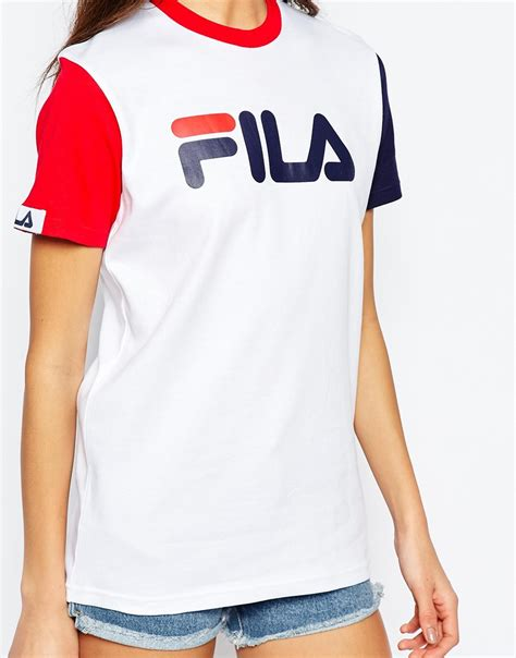 Lyst - Fila Basic T-shirt With Logo Detail & Colourblock
